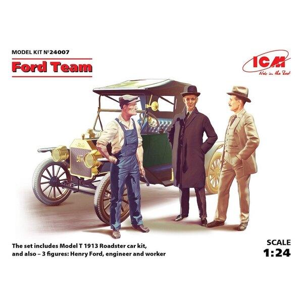 Ford Team (Modelo T 1913 Roadster kit de coche y 3 figuras) Kit de coche y las cifras de Henry Ford un ingeniero y un trabajador