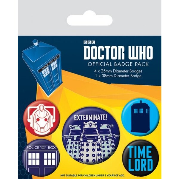 Doctor Who Pack 5 Chapas Exterminate