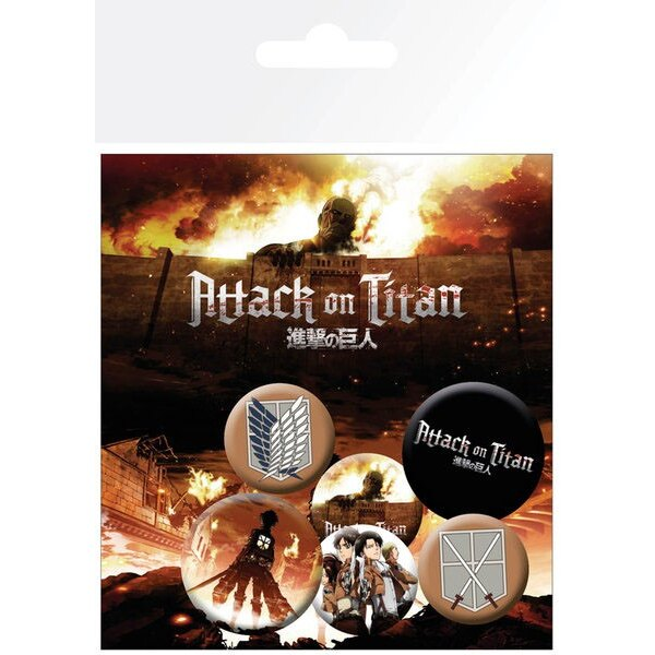 Attack on Titan Pack 6 Chapas Characters