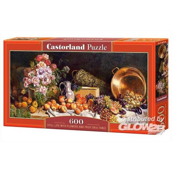 Puzzle Bodegón con flores y frutas sobre una mesa, puzzle 600 piezas