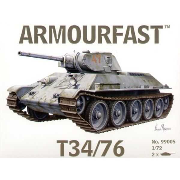T-34/76 x 2. Pack includes 2 snap together tank kits