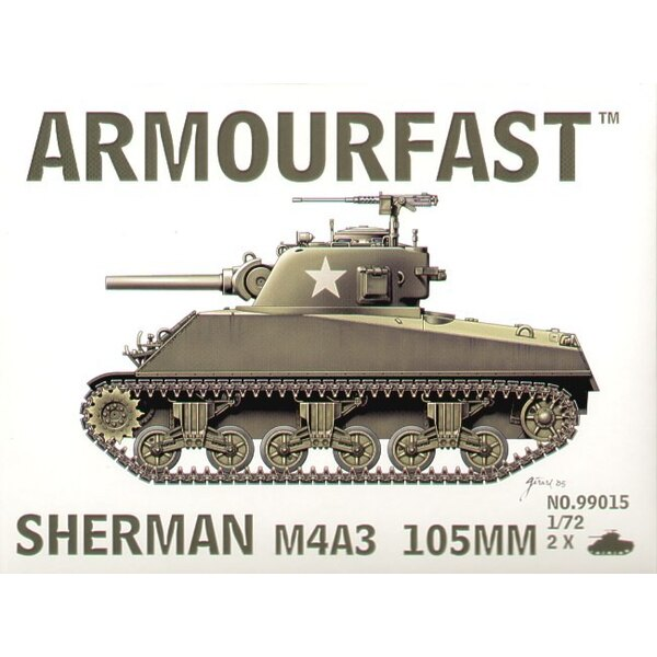 M4A3 Sherman 105mm gun: the pack includes 2 snap together tank kits