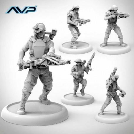 AvP Juego de Miniaturas The Hunt Begins Expansion Pack USCM Marines *Edición Inglés*