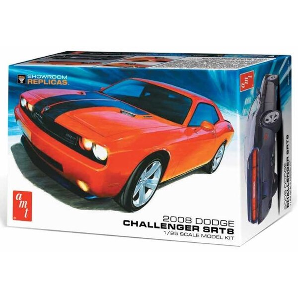 """2008 Dodge Challenger SRT8. AMT's Showroom Replicas Series offer modelers a simplified, """"promo-style glue kit format with a redu"""
