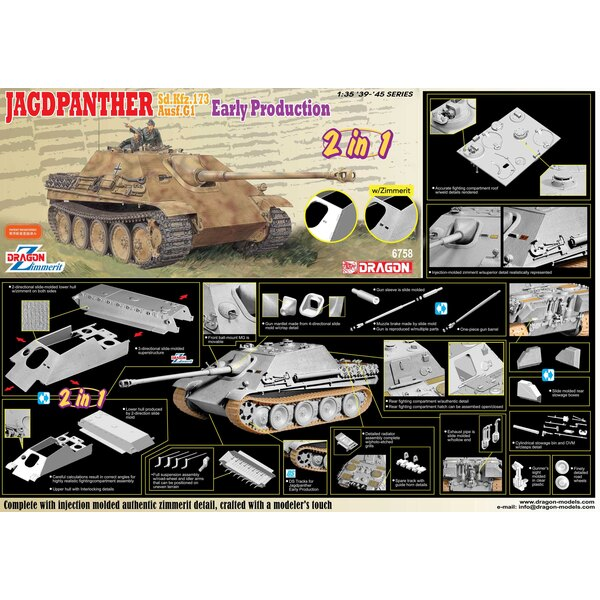 Sd.Kfz.173 Jagdpanther Ausf.G1 Early Production with Zimmerit Dragon has launched a new 1/35 scale kit of a Jagdpanther Early-Pr