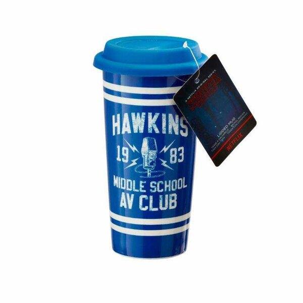 Cosas extrañas taza de viaje Hawkins AV Club