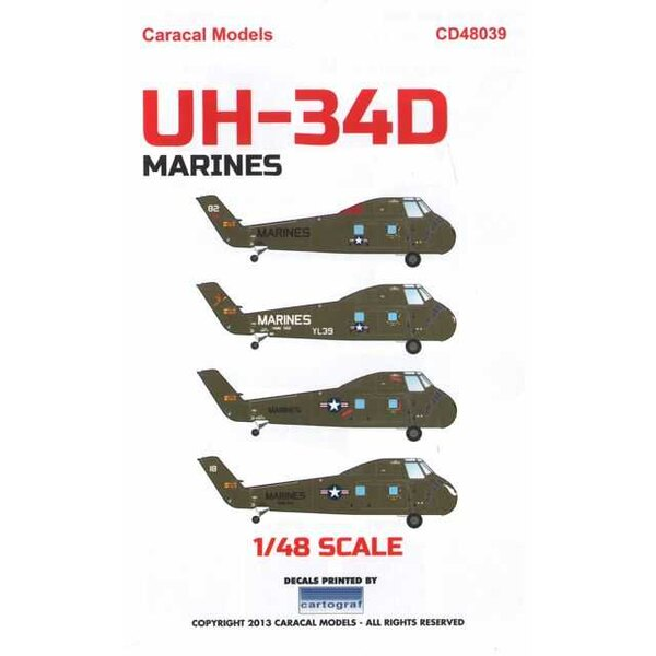 Calcomanía Sikorsky UH-34D US Marines: LFour marking options for US Marines UH-34D helicopters used in Vietnam. Designed for the