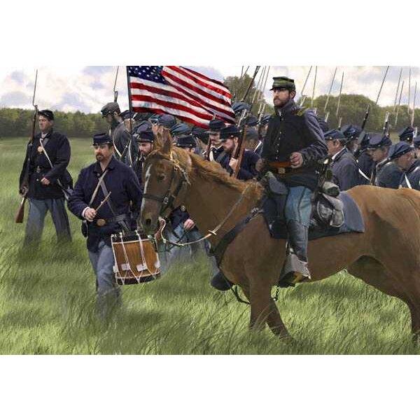 Infantería de la unión de los EEUU en la marcha (ACW / era de la guerra civil americana)