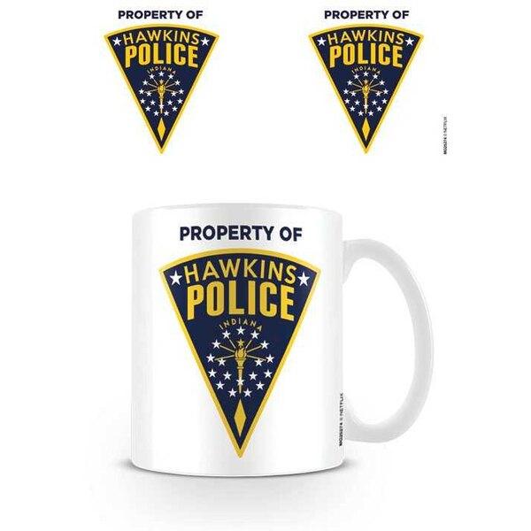 Más extraño cosas Hawkins policía insignia taza