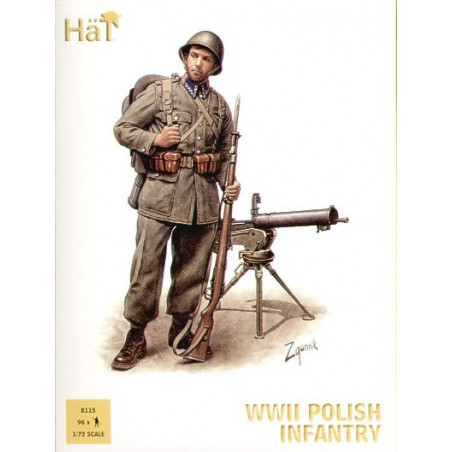 WWII Polish Infantry x 96 figures per box. Description - Includes infantry officers NCOs light and heavy machine guns and other
