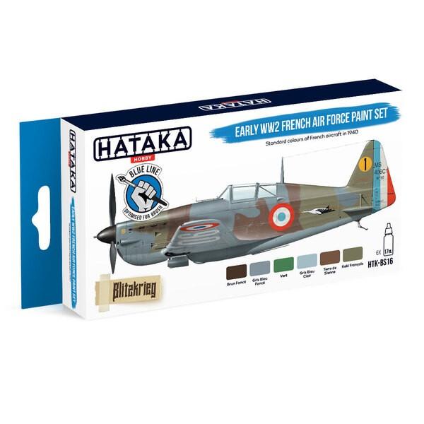 Juego de líneas azules (6 piezas) Juego de pintura de la primera fuerza aérea francesa de la Segunda Guerra Mundial HATAKA 59022