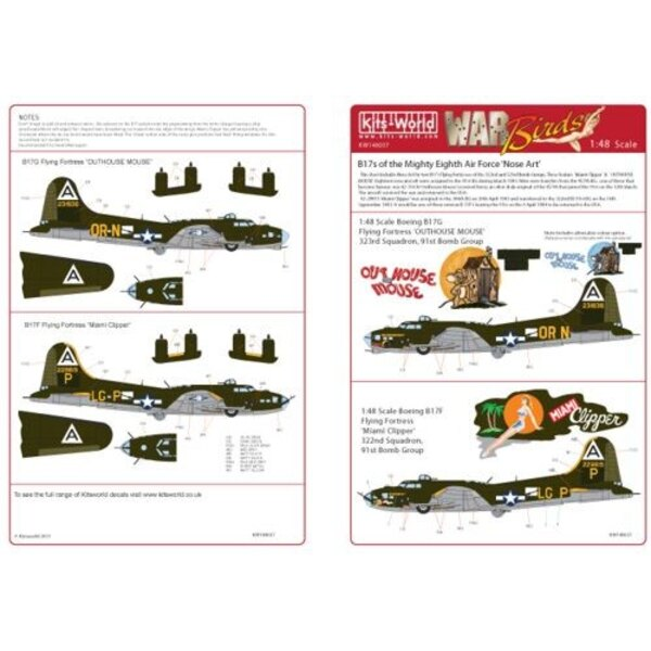 Calcomanía Boeing B-17F/Boeing B-17G 322nd BS 91st BG ′Miami Clipper′ - 323rd BS 91st BG ′Out -House Mouse′
