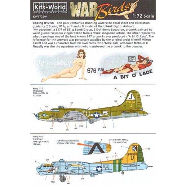 Calcomanía Boeing B-17F/Boeing B-17G Flying Fortress (2) 230857 TU-J/J My Devotion 297976/K 709th BS 447th BG A Bit o′ Lace. Ind