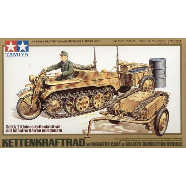 Kettenkrad with Goliath Infantry Cart. Also includes Tow bar grenade launcher oil drum ammunition boxes rifles and driver figure