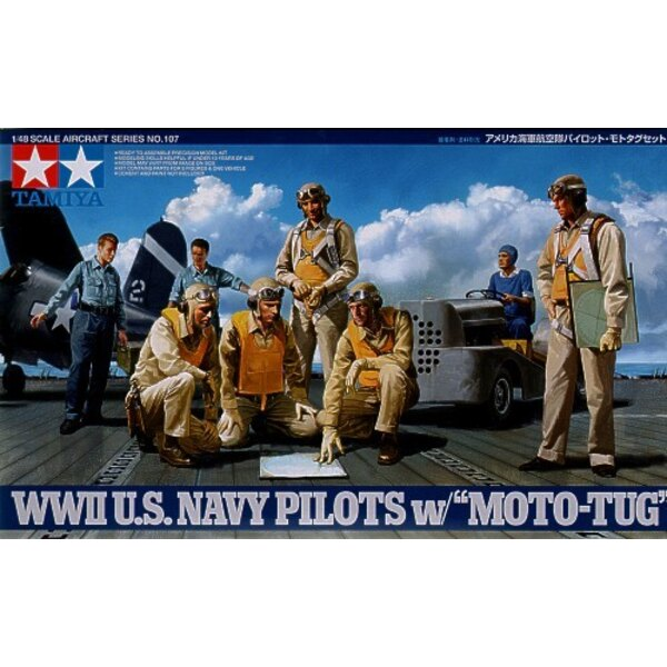 WWII US Navy Pilots x 5. USN deck crew x 3 and aircraft towing tractor/tug