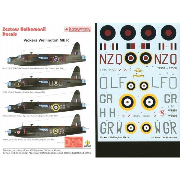 Vickers Wellington Mk.Ic (4) R1245 NZ-Q 304(Polish) Squadron T2508 LF-O 37 Squadron Egypt R1006 GR-H and W5690 GR-W both 301(Pol