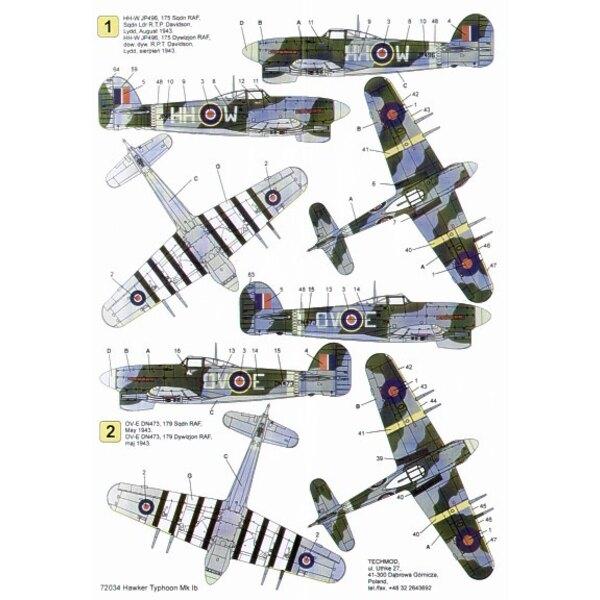 Calcomanía Hawker Typhoon Mk.Ib (3) JP496 HH W 175 Squadron S/L T.P.Davidson 1943 DN473 OV E 179 Squadron DN406 PR F 609 Squadro