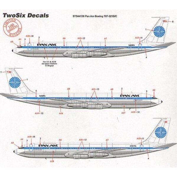 Boeing 707-321B/C PAN AM late scheme 16 registrations N401PA etc