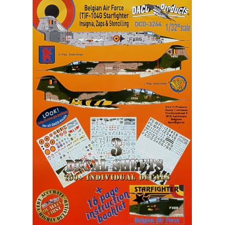 Calcomanía Lockheed F-104/Lockheed TF-104G Starfighter Zappings and Stencilling Belgian Air Force Insignia