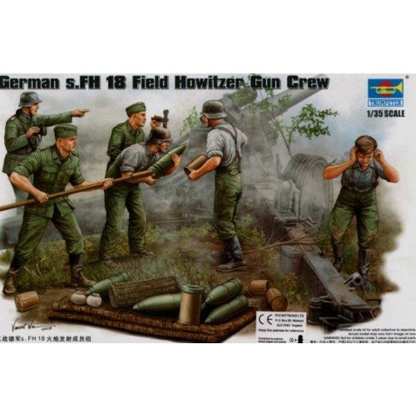 German WWII s.FH Field Howitzer Gun Crew. ammunition supply team x 4 figures and ammunition etc