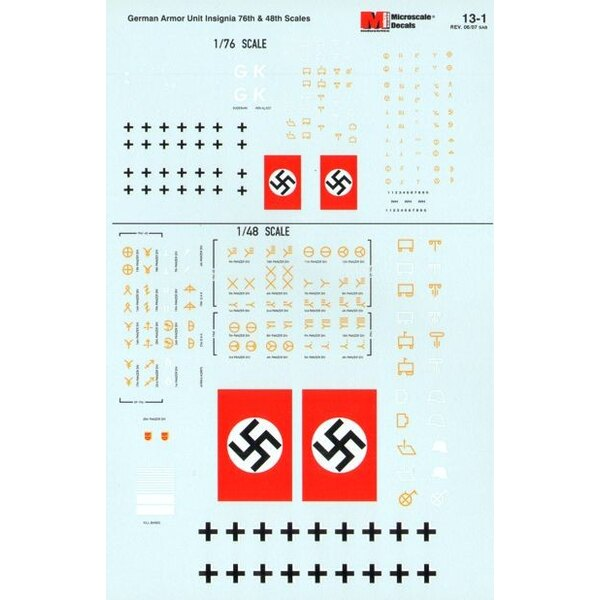 German Armour Unit Insignia 1940′s 1:76 and 1:48