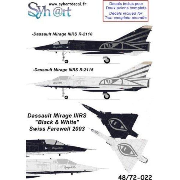 Calcomanía Dassault Mirage IIIRS R2110 & R2116 Swiss Black & White