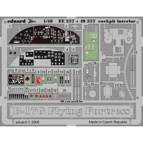 Boeing B-17G Flying Fortress cockpit interior PRE-PAINTED IN COLOUR! (diseñado para ser ensamblado con maquetas de Monogram and