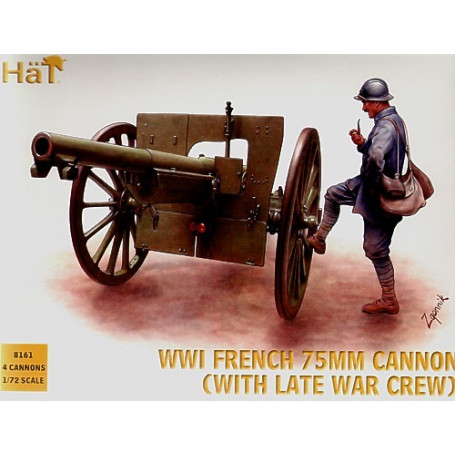 WWI French 75mm gun with crew (helmet)
