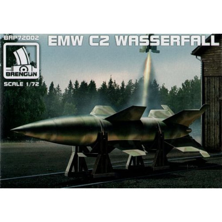 EMW Wasserfall C2 guided rocket with stand for vertical display and trestles for horizontal display