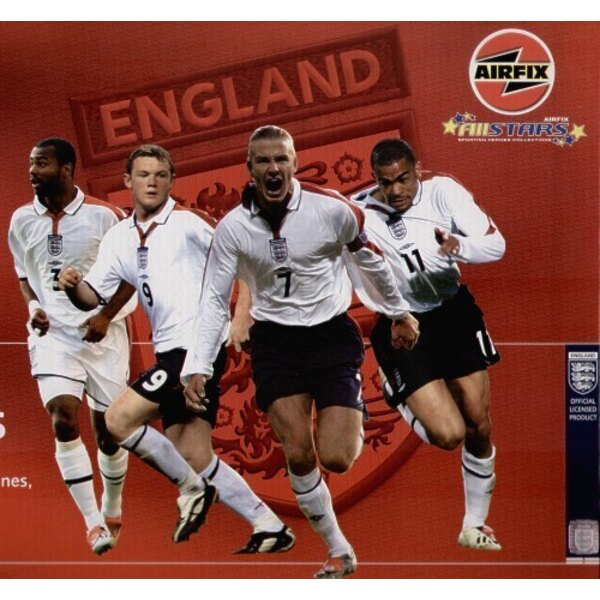 1:8 (approx) Airfix Footballers Set #1 Ashley Cole, Wayne Rooney, David Beckham, Kieron Dyer. Includes paint, glue and brushes.