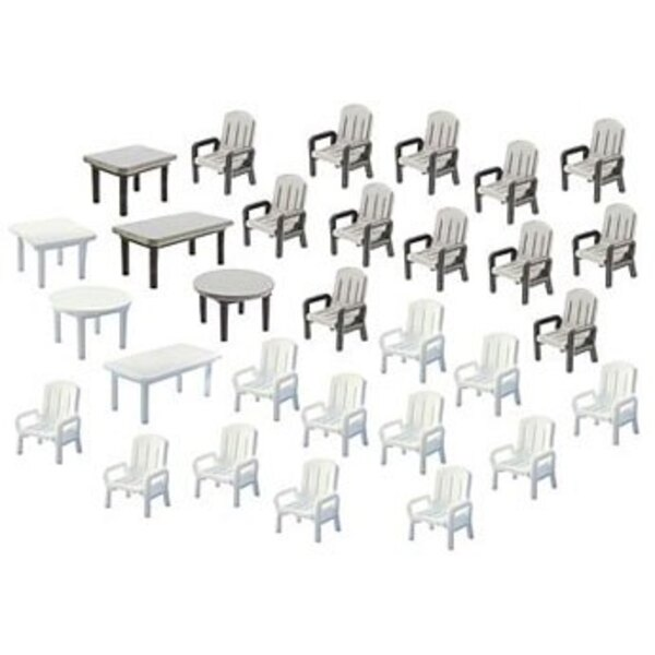 24 Garden chairs and 6 Tables