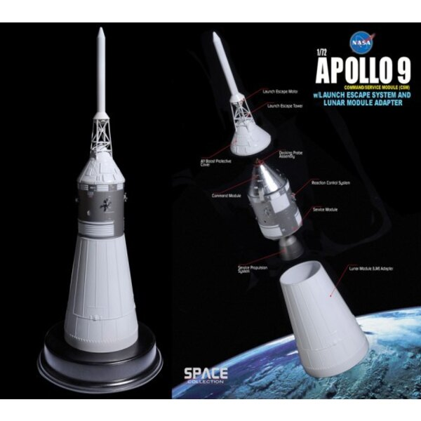 Apollo 9 CSM w/Launch Escape System and lunar module