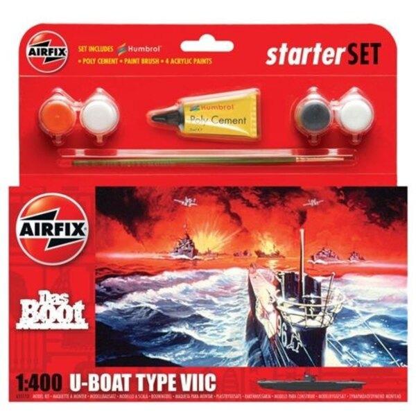 Das Boot U -Boat Tipo VIIC Starter Set incluye pinturas acrílicas , pinceles y cemento poli