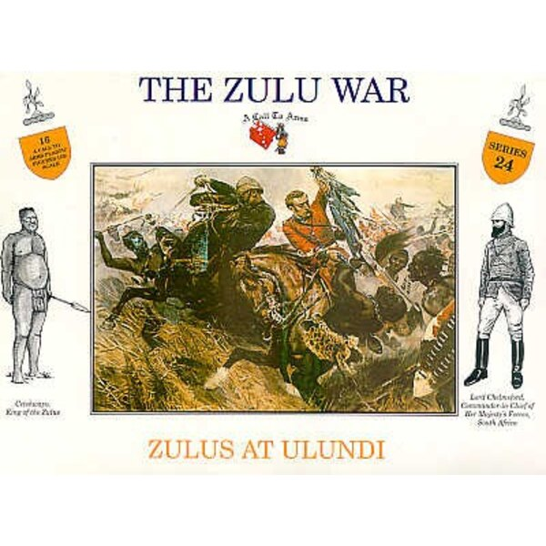 Zulus at Ulundi. 4 different poses with separate shields. 4 of each pose.