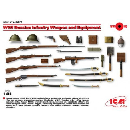 WWI ruso Infantería de armas y equipo . Completamente nuevo kit de molde. El primer modelo de kit de Infantería rusa de armas y