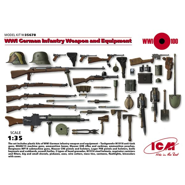 WWI Infantería alemana de armas y material