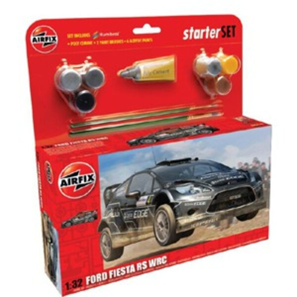 Ford Fiesta WRC Starter Set includes Acrylic paints, brushes and poly cement