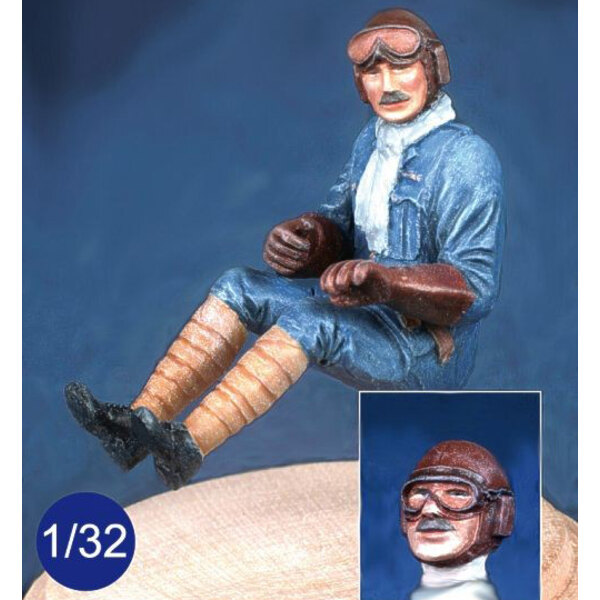 British WWI pilot seated in aircraft. Optional head wearing goggles or not