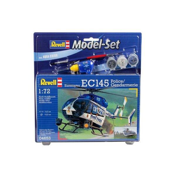 EC145 Police / Police Set - box containing the model, paints, brush and glue