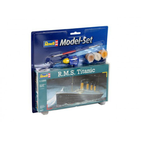 RMS Titanic Model Set - box containing the model, paints, brush and glue