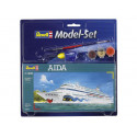 aida model set - box containing the model, paints, brush and glue
