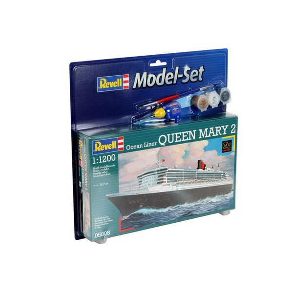 Queen Mary 2 Model Set - box containing the model, paints, brush and glue