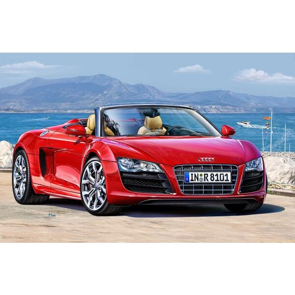 Audi R8 Spyder Model Set - box containing the model, paints, brush and glue