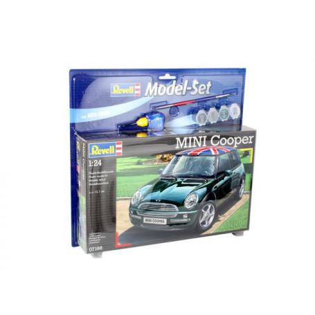 Mini Cooper Model Set - box containing the model, paints, brush and glue