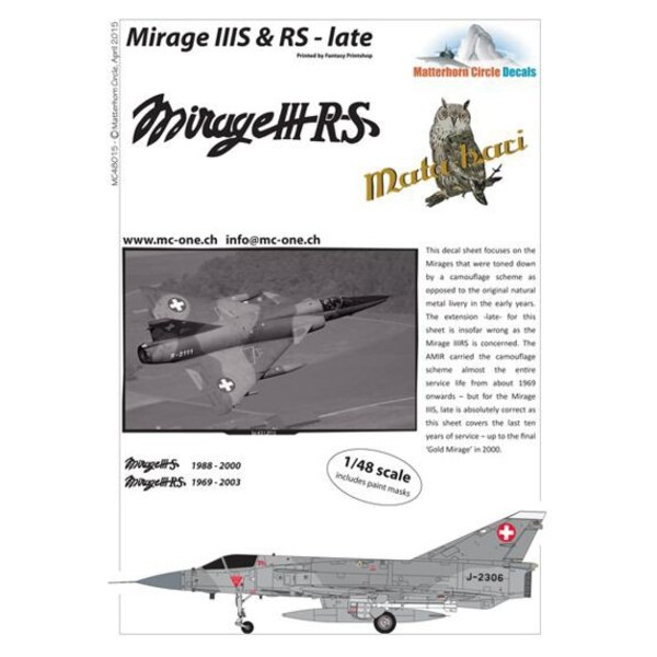 Calcomanía Dassault Mirage IIIS y RS finales [Dassault Mirage IIIE]