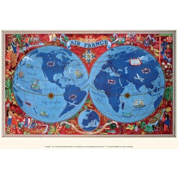 Air France - Mapa del mundo rojo - Lucien Boucher en 1950